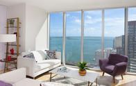 Floor to ceiling windows so that you can see the Biscayne Bay. Stunning views!