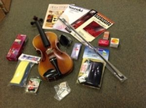 Hilton's has violins,violas,cellos and everything you need including lessons in store!