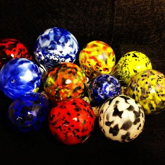 Blown Glass Ornaments, ready for pickup.