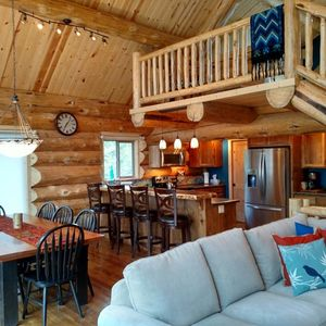 A full scribe handcrafted log home built in Mariners Haven Rexford Montana by Northwest log homes.