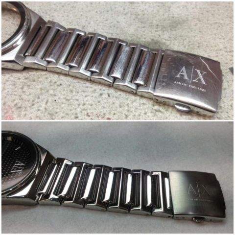 watch band Before and After being polished