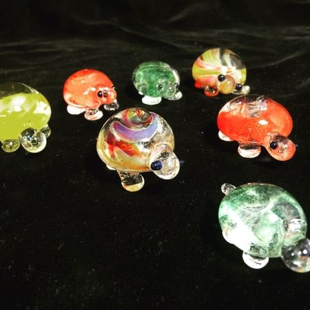 Hand made Glass Turtles. Fresh out of the kiln. Stop by, Live Demos!