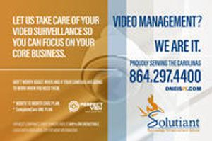 Don't worry about when and if your cameras are going to work when you need them. Let us take care of your video surveillance system for you while you focus on your core business. Proudly serving the Carolinas since 1981. Contact us today at 864.297.4400, info@solutiant.com or visit Oneisit.com