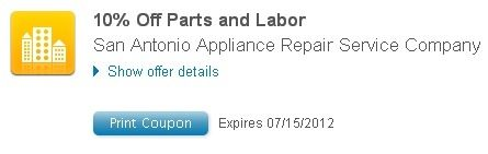 10% off Parts and Labor coupon, Please Print this out !  *Excludes service call*