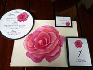 Rose Watercolor Wedding Stationary