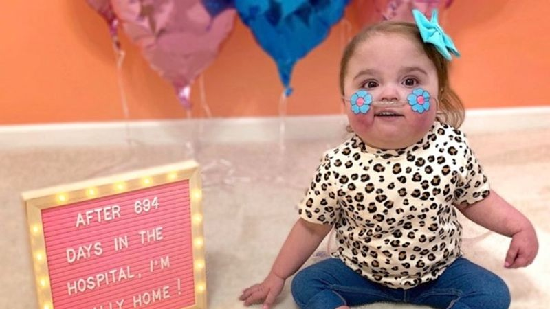Baby heads home after nearly 700 days in hospital