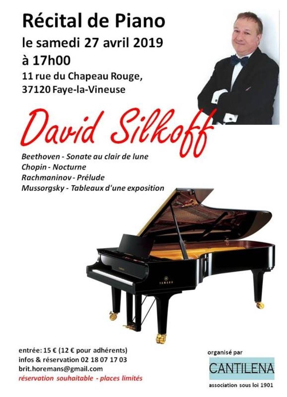 récital de piano David Silkoff Chapeau Rouge Faye-la-Vineuse  27 avril 2019