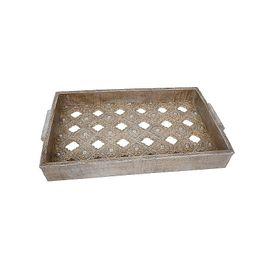 Δίσκος 1-266-92-390 23x5x38cm Silver-Gold Etiquette
