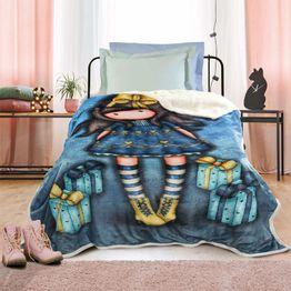 Κουβέρτα Παιδική Fleece Sherpa 5020 Santoro Gorjuss- Just Because Blue Das Kids