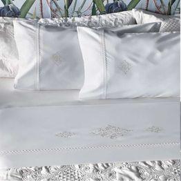 Σεντόνια Clairy Με Αζούρ Και Κέντημα (Σετ 4τμχ) White Kentia