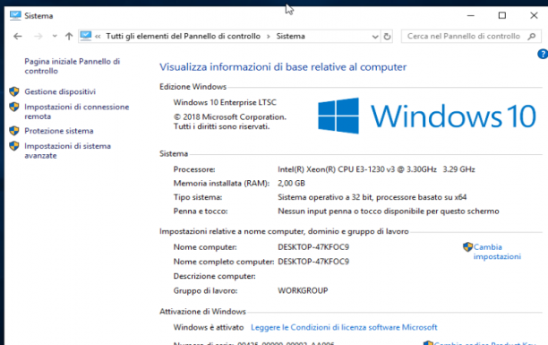 Microsoft Windows 10 Enterprise LTSC 2019 - Gennaio 2019 - Ita