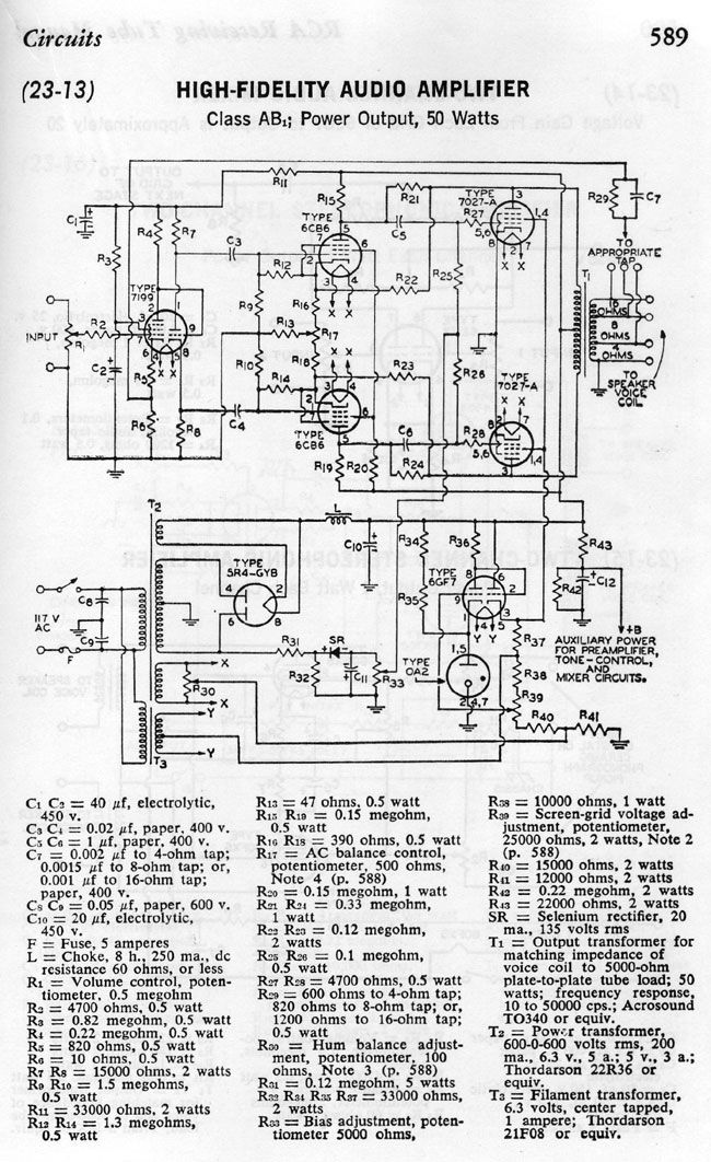 Sim of RCA Tube Manual 50 Watt Amplifier - results and questions