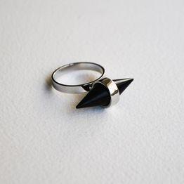 Black Spike Δαχτυλίδι - Ασημί