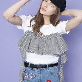 Gingham Frilled Detail T-shirt - Μαύρο