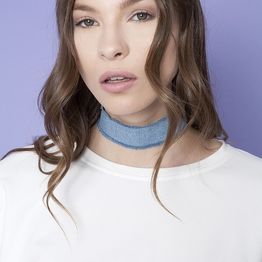 Denim Choker - Light blue