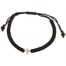 Βραχιόλι ανδρικό με σταυρό από ασήμι και αυξομειώμενο κορδόνι