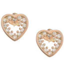 Σκουλαρίκια καρδιές από ρόζ επιχρυσωμένο ασήμι με πέτρες ζιργκόν