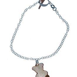 Βραχιόλι χειροποίητο από ασήμι με κρεμαστό αρκουδάκι από φίλντισι