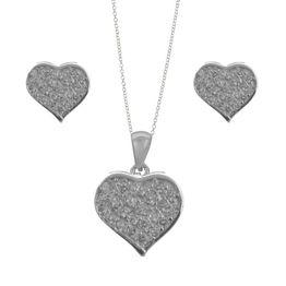 Σέτ κοσμημάτων από ασήμι σκουλαρίκια με κολιέ καρδιά και με πέτρες ζιργκόν καρδιές