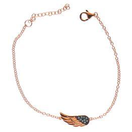 Βραχιόλι από ρόζ επιχρυσωμένο ασήμι με φτερό από πέτρες τυρκουάζ