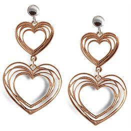 Σκουλαρίκια Καρδιές από ρόζ επιχρυσωμένο ασήμι 925