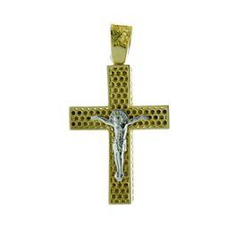Σταυρός βάπτισης δίχρωμος για αγόρι από χρυσό K14 και λευκόχρυσο k14