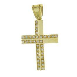 Σταυρός βάπτισης για κορίτσι από χρυσό 14K με πέτρες ζιργκόν