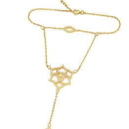 Βραχιόλι δαχτυλίδι που ενώνεται με αλυσίδα με εντυπωσιακό δαχτυλίδι από επιχρυσωμένο ασήμι με πέτρες ζιργκόν