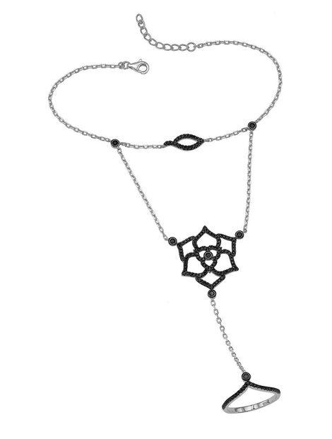 Βραχιόλι δαχτυλίδι που ενώνεται με αλυσίδα με εντυπωσιακό δαχτυλίδι από ασήμι με πέτρες ζιργκόν σε μαύρο χρώμα