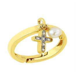 Δαχτυλίδι από επιχρυσωμένο ασήμι με πέτρες ζιργκόν και με στοιχείο κρεμαστό σταυρό