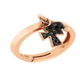 Δαχτυλίδι από ρόζ επιχρυσωμένο ασήμι με πέτρες ζιργκόν και με στοιχείο κρεμαστό σταυρό