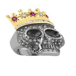 Δαχτυλίδι από ασήμι με νεκροκεφαλή από πέτρες ζιργκόν