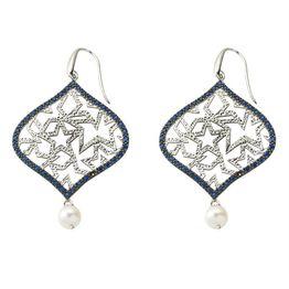 Χειροποίητο εντυπωσιακό ζευγάρι σκουλαρίκια από ασήμι με πέτρες ζιργκόν σε μπλέ χρώμα και μαργαριτάρι