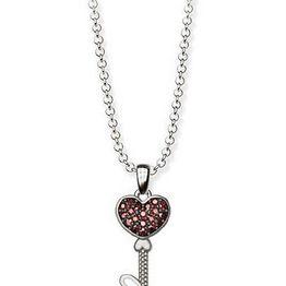 Κολιέ συλλογή Love καρδιά κλειδί από ασήμι με πέτρες swarovski
