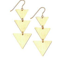 Κρεμαστά μακριά σκουλαρίκια τρίγωνα από επιχρυσωμένο ασήμι