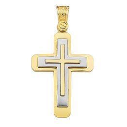 Χειροποίητος βαπτιστικός σταυρός δίχρωμος 9 καρατίων | Σταυρός βάπτισης K9
