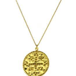 Φλουρί διπλής όψης κωνσταντινάτο από επιχρυσωμένο ασήμι - Coin necklace