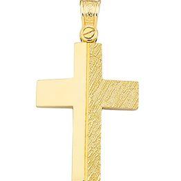 Βαπτιστικός σταυρός δίχρωμος 9 καρατίων | Σταυρός βάπτισης K9