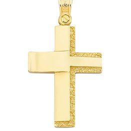 Βαπτιστικός σταυρός δίχρωμος 14 καρατίων   Σταυρός βάπτισης K14