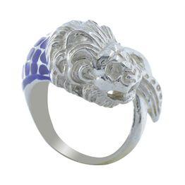 Ανδρικό δαχτυλίδι με λέων από ασήμι και μπλέ σμάλτο