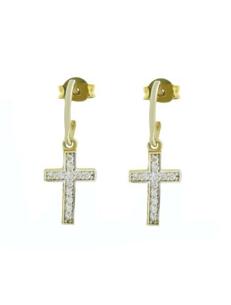 Σκουλαρίκια με σταυρό κρεμαστά από επιχρυσωμένο ασήμι με πέτρες ζιργκόν