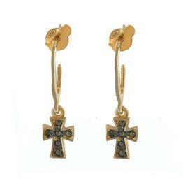 Σκουλαρίκια με σταυρό κρεμαστά από ρόζ επιχρυσωμένο ασήμι με πέτρες ζιργκόν