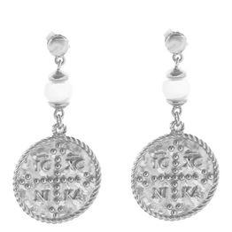 Μοντέρνα σκουλαρίκια φλουριά διπλής όψης κωνσταντινάτο και εντούτο νίκα από ασήμι