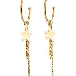 Μοντέρνα χειροποίητα σκουλαρίκια κρίκοι με αλυσίδες και αστέρι σε επιχρυσωμένο ασήμι
