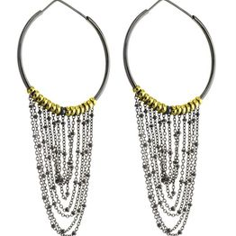 Μοντέρνα μοναδικά χειροποίητα σκουλαρίκια κρίκοι με κρεμαστές αλυσίδες σε μαύρο πλατινωμένο ασήμι