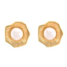 Χειροποίητα σκουλαρίκια από επιχρυσωμένο ασήμι με μαργαριτάρια