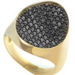 Μοντέρνο δαχτυλίδι συλλογή Colour Callisto 2020 από επιχρυσωμένο ασήμι με πέτρες ζιργκόν σε μαύρο χρώμα
