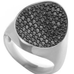 Μοντέρνο δαχτυλίδι συλλογή Colour Callisto από ασήμι με πέτρες ζιργκόν σε μαύρο χρώμα