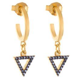 Σκουλαρίκια κρικάκια με κρεμαστό στοιχείο τρίγωνο και μέταλλο από επιχρυσωμένο ασήμι με πέτρες ζιργκόν