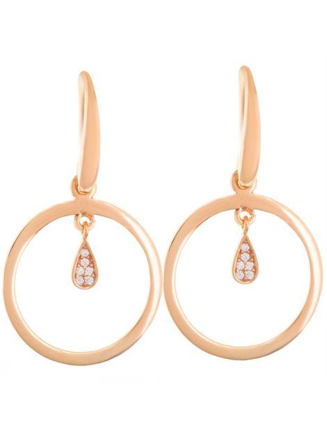 Σκουλαρίκια σκουλαρίκια κρεμαστά από ρόζ επιχρυσωμένο ασήμι με πέτρες ζιργκόν